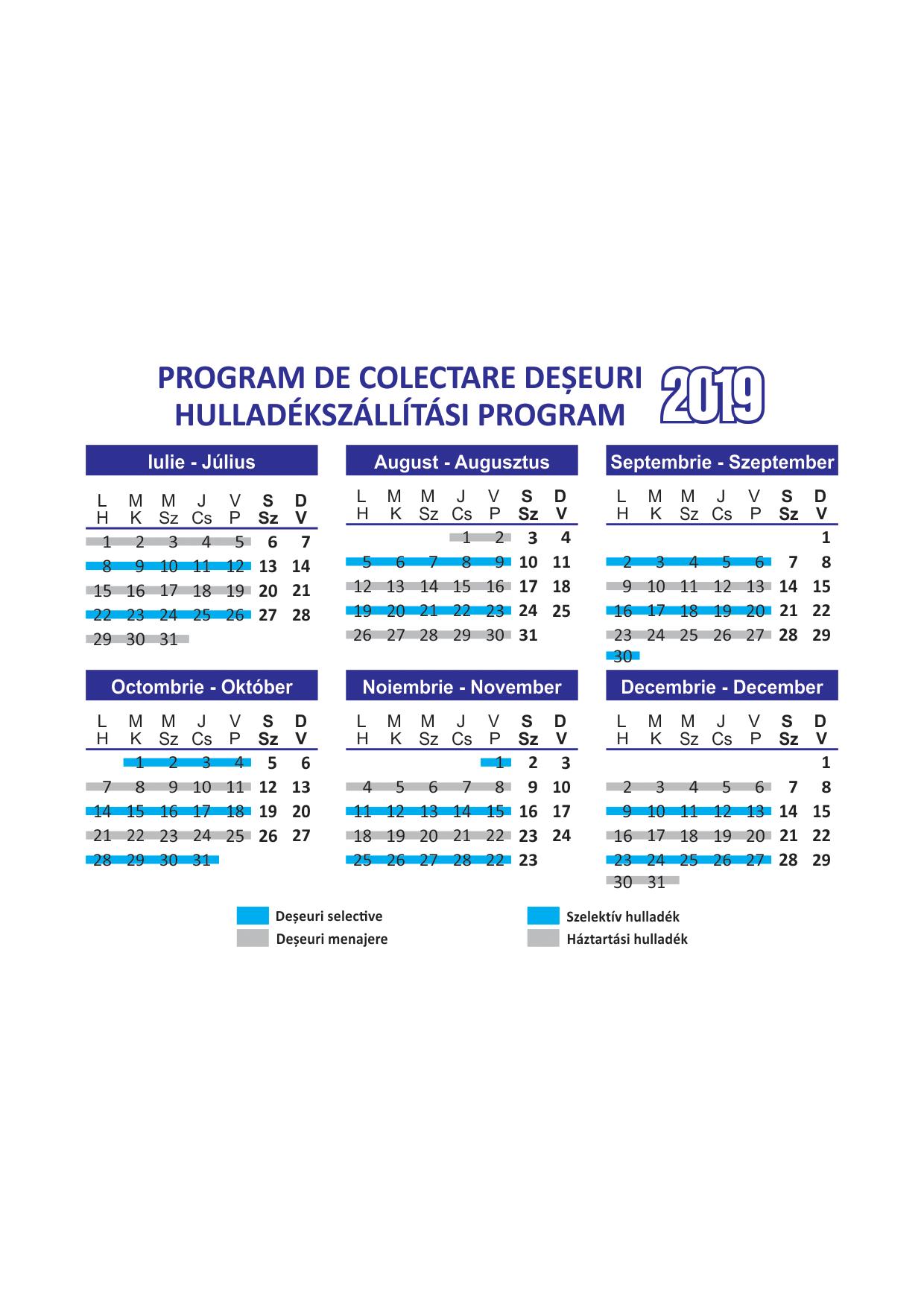 Hulladékelszállítási program, július-december, 2019